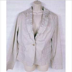 Talbots Women's Jacket Size 16 Beige Ruffled Lapel